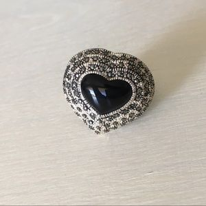 Jewelry - 🖤Sterling Silver Marcasite Heart Statement Ring